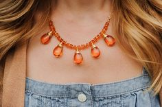 Gorgeous amber and 14k gold necklace