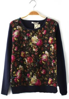 Multicolor Patchwork Round Neck Thick Cotton Blend Sweater