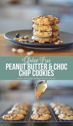 The perfect chewy Gluten Free Peanut Butter and Chocolate Chip Cookies that take only minutes to whip up. Perfect for those late night snack attacks or when you need something just a little bit indulgent in your life! via @https://au.pinterest.com/champagnegboots/