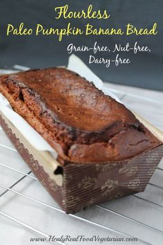 Flourless Paleo Pumpkin Bread Recipe (Grain-free, Nut-free)- This Flourless Paleo Pumpkin Bread Recipe is a really tasty sweet bread. It's not quite like a loaf of wheat bread, it's more like a moist pound cake. Paleo Pumpkin Bread, Pumpkin Banana Bread, Paleo Banana Bread, Pumpkin Recipes, Paleo Recipes, Bread Recipes, Real Food Recipes, Pumpkin Puree, Pumpkin Loaf