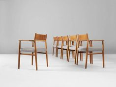 Arne Vodder Set of Six Dining Chairs in Walnut 4