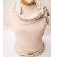 Cream cowl neck Beige/ natural colored cowl neck short sleeved light sweater-  fitted and accents your curves. Fits more like medium Sweaters Cowl & Turtlenecks