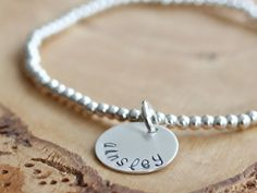 Personalized Hand Stamped Name Bracelet in Silver {Leigh} - the perfect #bridesmaid #gift