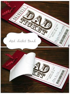 Free printable Fathers Day Tickets. What a fabulous gift idea