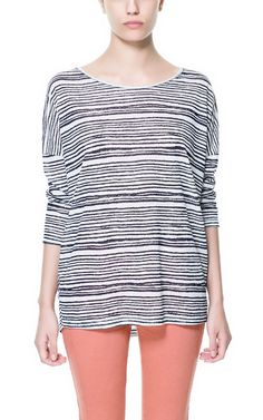 Image 1 of STRIPED LINEN T-SHIRT from Zara