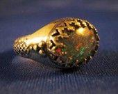 Fire Opal Triplet Ring