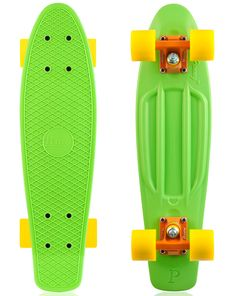 Green and Yellow are always a good choice, but I love the Orange Trucks. They look so good. - Penny Skateboard Green Orange and Yellow