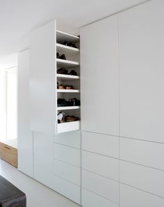 retractable cupboard for shoe storage by Holzrausch Wardrobe Design, Wardrobe Closet, Closet Bedroom, Walk In Closet, Master Bedroom, White Closet, White Wardrobe, Ikea Bedroom, Dressing Room Closet