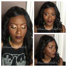 #redcarpetglam #burgundylips #goldsmokeyeyes #highlight #contour #weddingmakeup #glowing #prommakeup #mattelips #toofaced #chocolatebarpalette #makeupforwomenofcolor