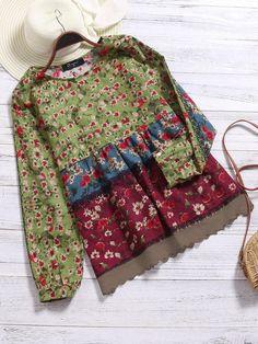 Only US$19.99 shop vintage women floral printed patchwork shirt at Banggood.com. Buy fashion blouses & shirts online. - Banggood Mobile #womensfashionvintageblouses