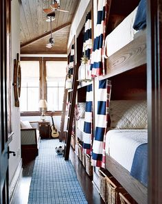 so would this not be perfect at a cottage for the kids? nautical and packed with storage - a perfect use of space!
