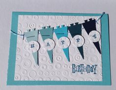 Paper Handmade Happy Birthday Greeting Card For Boys, Blank Inside, Stationery, Paper Goods, Card with Pennants, Blue Birthday Card, Sports - pinned by pin4etsy.com