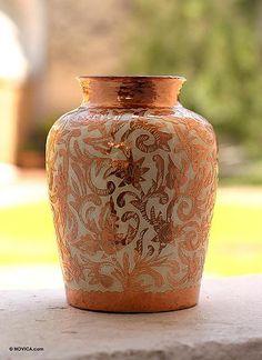 Copper and silver vase, 'Garden' - Fair Trade Collectible Floral Mexican Copper and Silver Vase