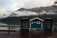Bookshelves on a road in Norway
