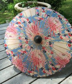 Antique Japanese Umbrella Made in Japan Bold Mums by vintagemb60