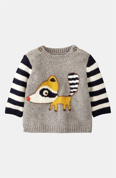 Mini Boden 'Logo' Sweater (Infant) available at - My list of the most beautiful baby products Baby Outfits, Toddler Outfits, Kids Outfits, Little Fashion, Fashion Kids, Knitting For Kids, Baby Knitting, Baby Kids, Baby Boy