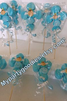 Baptism marshmallow favors Boy Baptism pops boy by Mypartygoodies