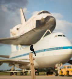 The space shuttle Endeavour about to take its final journey.