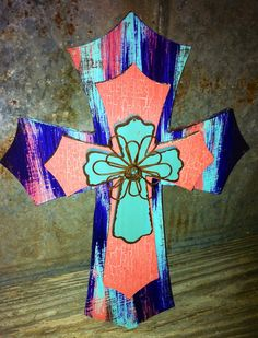 "Hand crafted 3 layered stacked cross - coral, turquoise & purple / off white/coral crackle / turquoise w/wire floral design - 11x16"" on Etsy, $30.00"