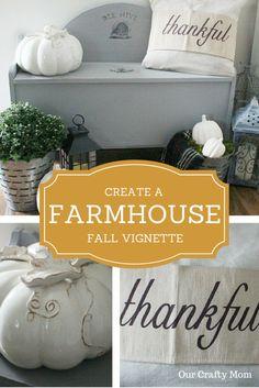 Create A Farmhouse Fall Vignette | Our Crafty Mom | Fall | Farmhouse | White Pumpkins | Olive Buckets