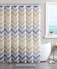 Victoria Classics Yellow Gray Zigzag 14 Piece Shower Curtain Set
