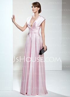 Mother of the Bride Dresses - $126.99 - A-Line/Princess V-neck Floor-Length Charmeuse Mother of the Bride Dress With Ruffle (008006190) http://jjshouse.com/A-Line-Princess-V-Neck-Floor-Length-Charmeuse-Mother-Of-The-Bride-Dress-With-Ruffle-008006190-g6190