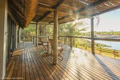 Private deck in from of the guest room at Savute Safari Lodge in Botswana