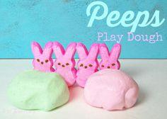 Marshmallow Peeps Play Dough - The TipToe Fairy Easter Peeps, Easter Treats, Easy Diy Crafts, Diy Crafts For Kids, Craft Ideas, Diy Ideas, Easy Easter Recipes, Marshmallow Peeps, Easter Table Decorations