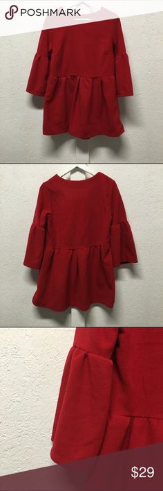 sample sale red dress bell sleeves fits like a true small felt material offers accepted Dresses