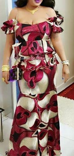"""Résultat de recherche d'images pour """"tenue africaine wax"""" African Fashion Skirts, African Maxi Dresses, African Attire, African Wear, Africa Fashion, Ethnic Fashion, Party Dresses For Women, Nice Dresses, France Mode"""