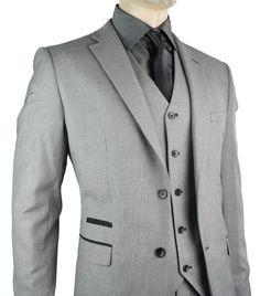 Mens Slim Fit Suit Grey Black Trim 3 Piece Work Office or Wedding Party Suit UK - Tru Clothing - For Juan