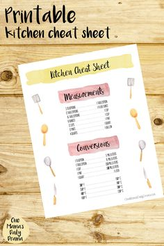 Printable kitchen cheat sheet | Handy list of common measurements and conversions for cooking and meal planning