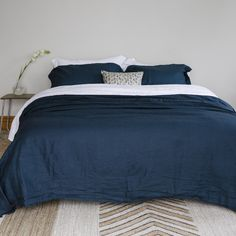 Stonewashed Linen Duvets, Sheets and Pillowcases - Ink Blue - Little Additions
