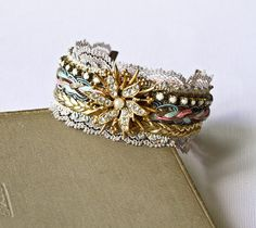 Romantic Cuff Bracelet Shabby Chic Vintage Style Victorian Gold Pink and Aqua