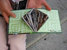 Here's another version of book folding. Start with the same folding in Recycled Book Folding I, but add another triangle fold at the bottom corner, and keep ...