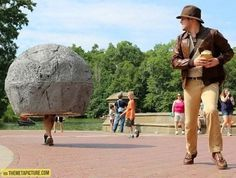 best costume team ever....Awesome Indiana Jones vs rolling boulder cosplay…