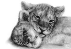 """Saatchi Art Artist Danguolė Šerstinskaja; Painting, """"Lion Cubs"""" #art"""