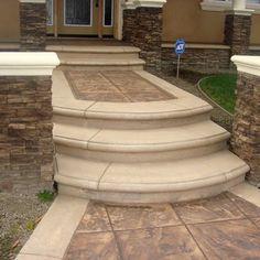 Stamped concrete walkway with custom concrete bullnose steps, stack ledgestone veneer, and | Yelp