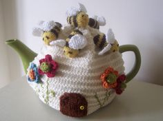 (6) Name: 'Knitting : 'Busy Bees' Tea Cosy