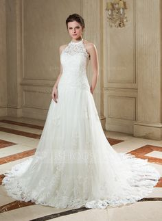 A-Line/Princess Halter Court Train Tulle Wedding Dress With Lace Beading Sequins (002000141)