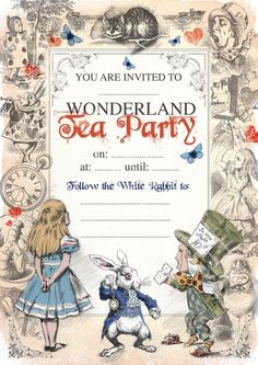 ALICE IN WONDERLAND afdrukbare Mad Hatters Tea Party uitnodigen verjaardag of speciale gelegenheid uitnodiging