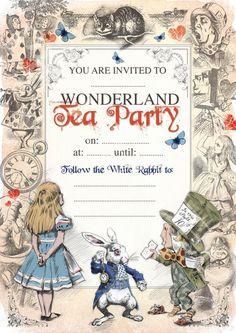 ALICE IN WONDERLAND afdrukbare Mad Hatters Tea Party uitnodigen verjaardag of speciale gelegenheid uitnodiging