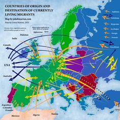 """mapsontheweb: """"Countries of origin and destination of currently living migrants in Europe. Arrow Show, European Map, Early Humans, Historical Maps, Macedonia, Country Of Origin, Rugs On Carpet, The Originals, Abstract"""