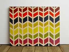 Colorful Hand-Painted Chevrons on Birch Plywood.