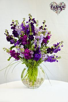 Half Moon vase with colorful purple stock!  #centerpiece