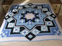 Blue Star Afghan granny square variation.