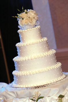 elegant white buttercream cake