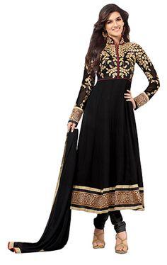 Melluha Black Georgette Dress Material