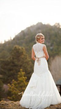 Melissa Sweet Cap Sleeve Fit-and-flare Lace Gownstyle Ms251005