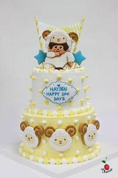 Monchhichi Sheep Baby's Hundred Days Cake.